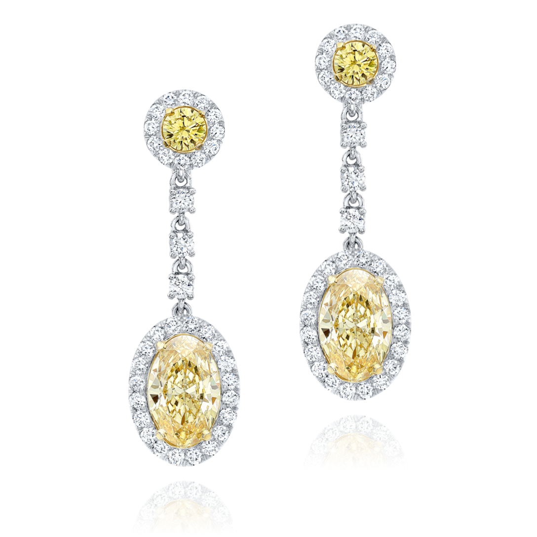 Oval Diamond Earrings Fancy Light Yellow