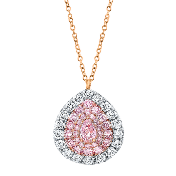 Pear Shape Pink Diamond Pendant