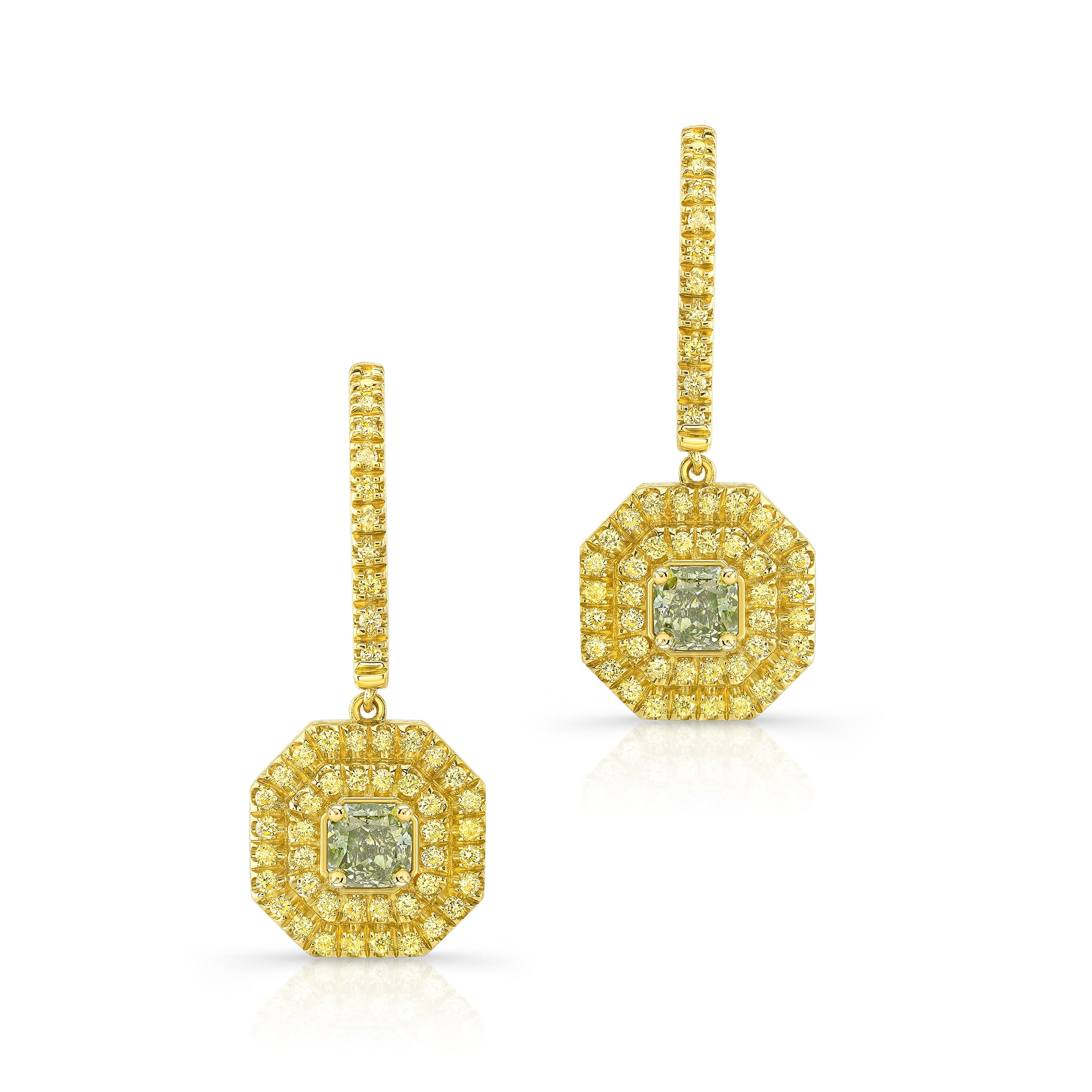 Green & Yellow Diamond Earrings - Mizrahi Diamonds