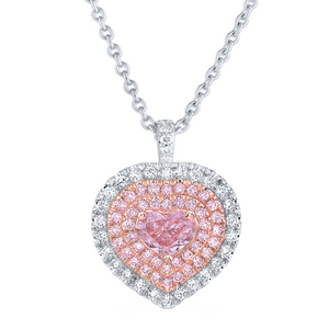 Heart Shape Fancy Light Pink Diamond Necklace
