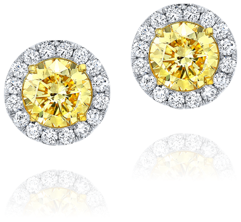 Fancy Yellow Round cut Diamond Earrings - Mizrahi Diamonds