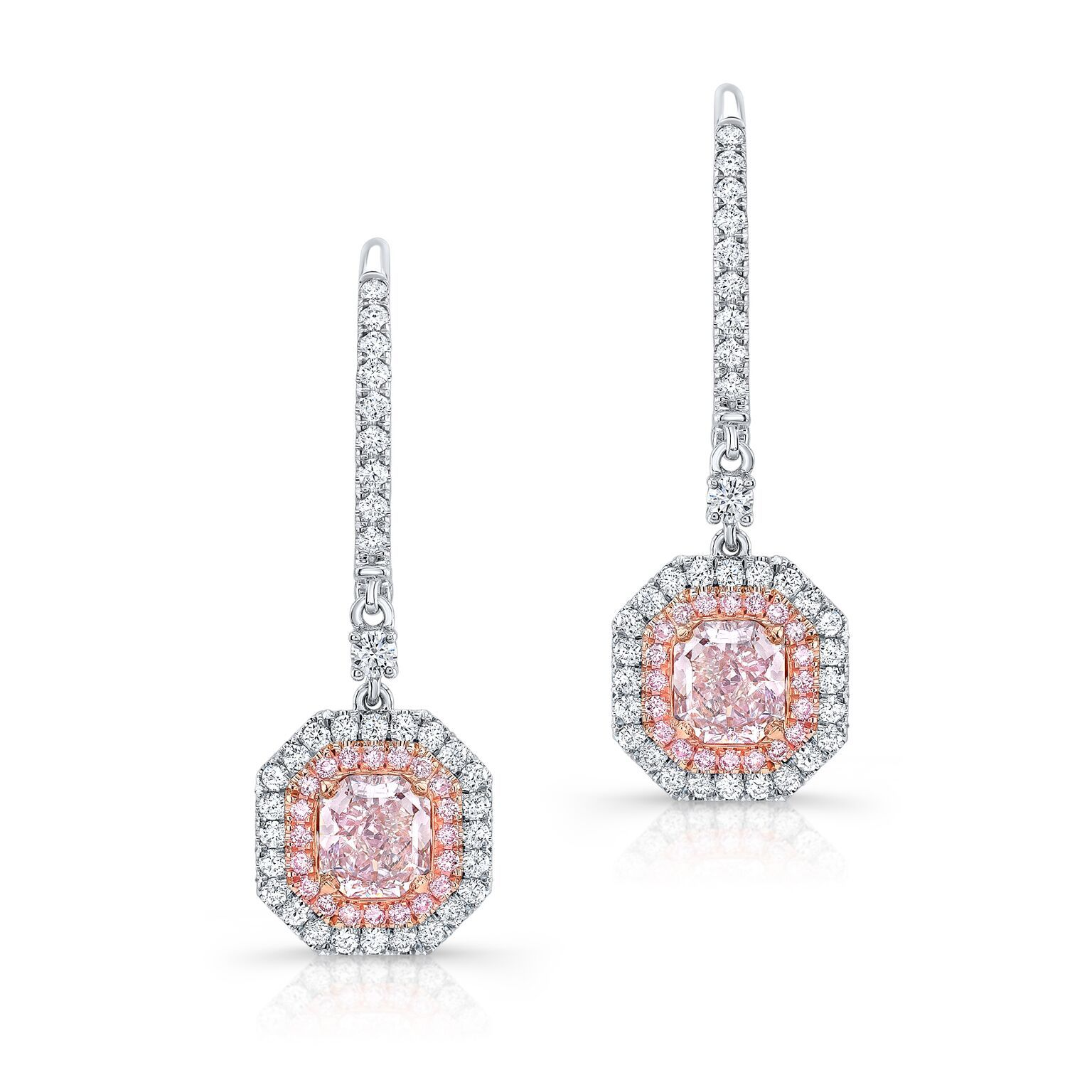 Radiant Light Pink Diamond Earrings - Mizrahi Diamonds