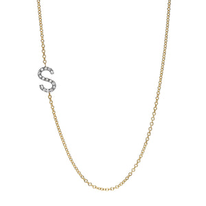 diamond initial necklace gold