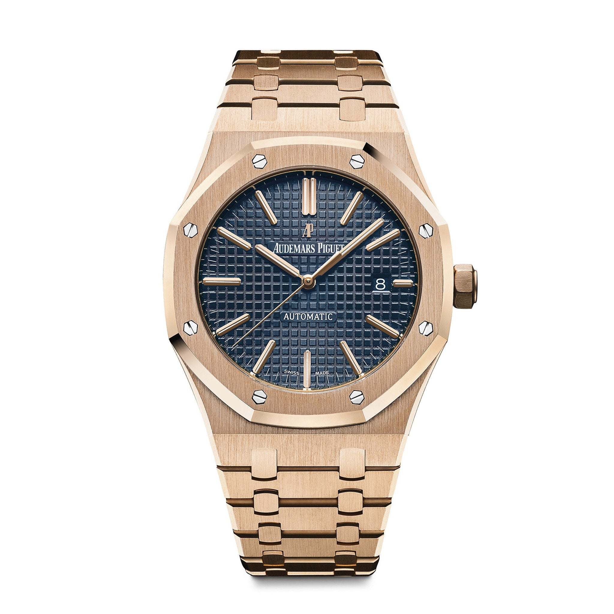 Audemars Piguet Royal Oak Rose Gold Blue Dial - Mizrahi Diamonds