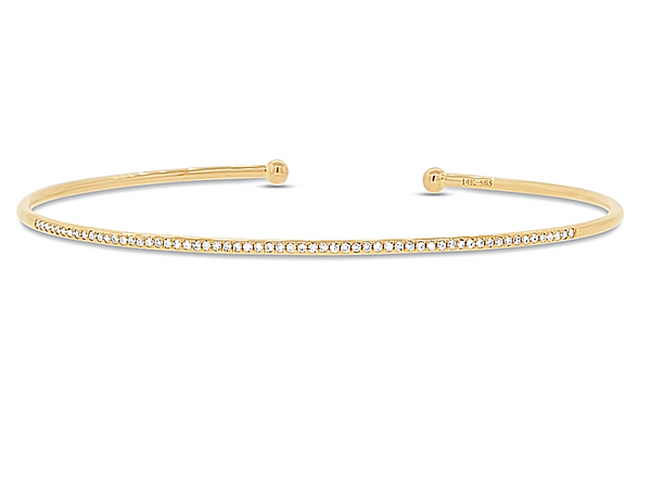 14K Single Row Stackable Diamond Bangle - Mizrahi Diamonds