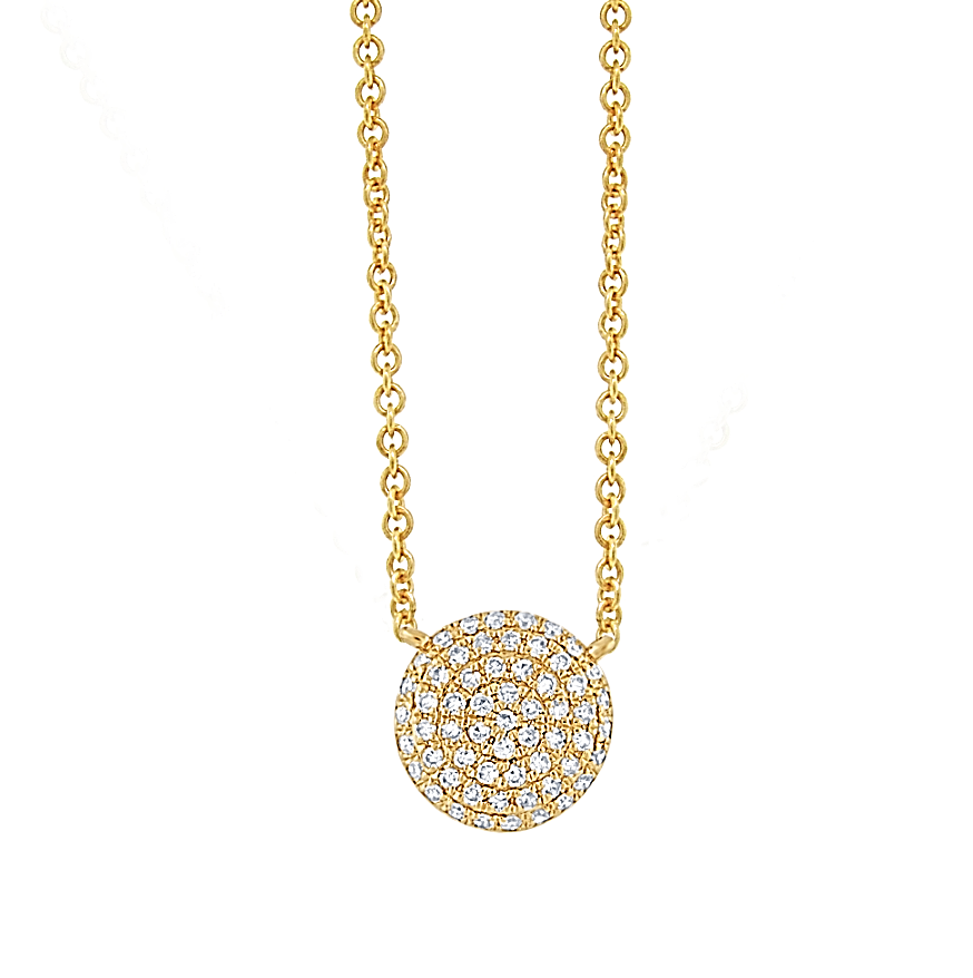 A Dainty Diamond Disc Pendant - Mizrahi Diamonds