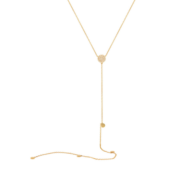 Long gold & diamond Lariat necklace - Mizrahi Diamonds