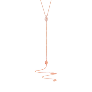Rose Gold Diamond Pave Lariat Necklace - Mizrahi Diamonds