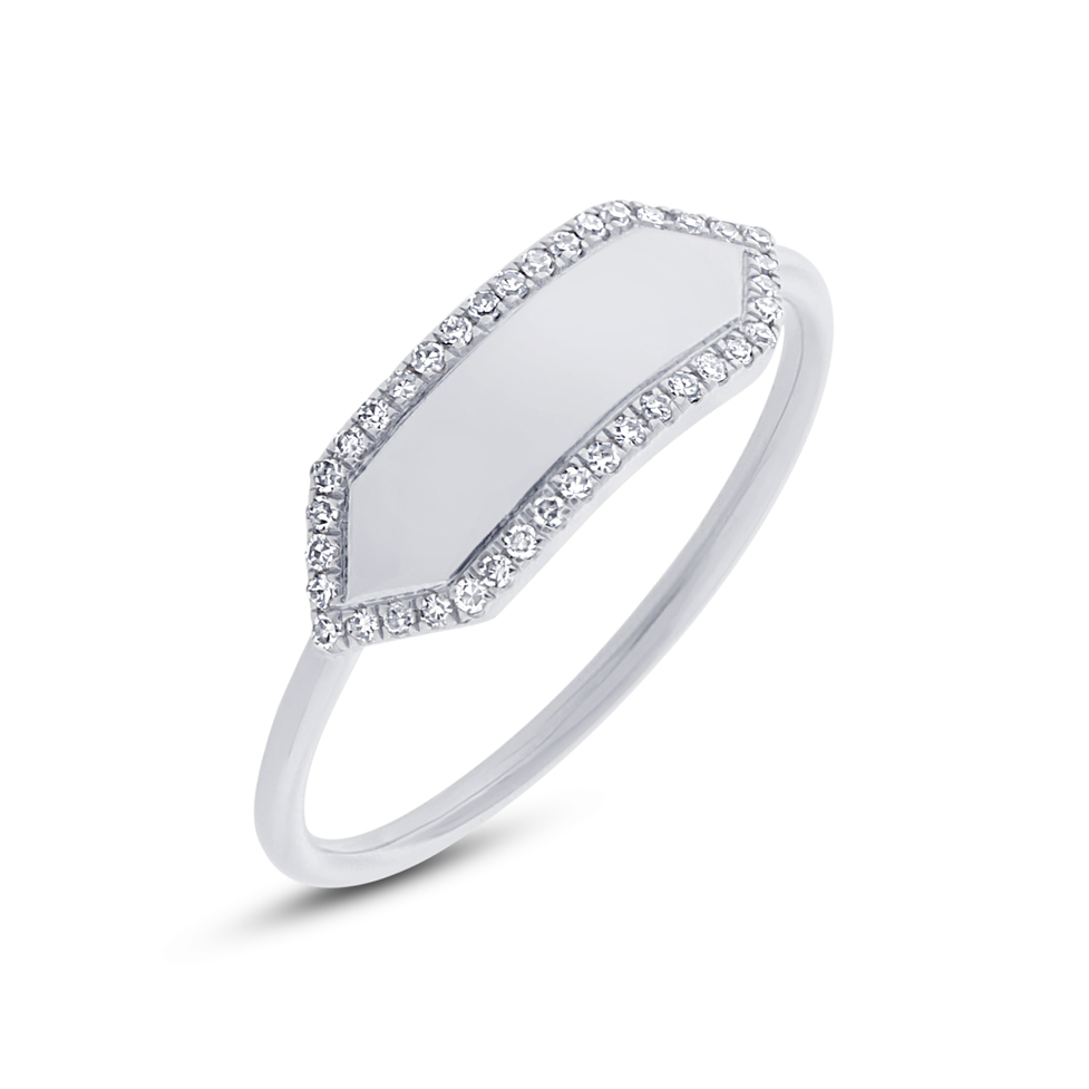 Gold Diamond pave ring - Mizrahi Diamonds