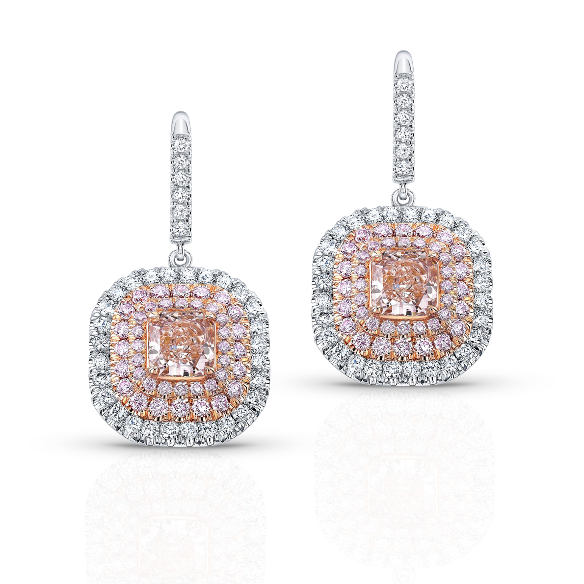 Cushion cut Pink Diamond Earrings