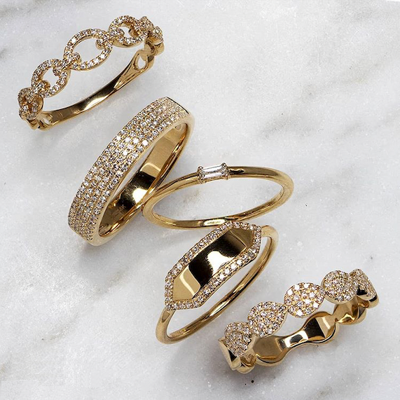 Gold Diamond Plate Ring