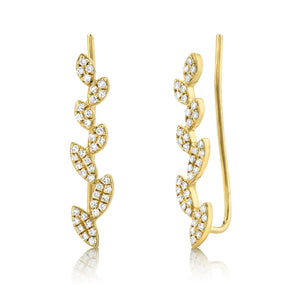 Diamond Leaf Ear Crawler Earrings - Long
