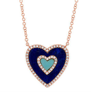 Blue Heart Diamond Necklace