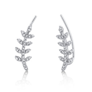 Diamond Leaf Crawler Earrings