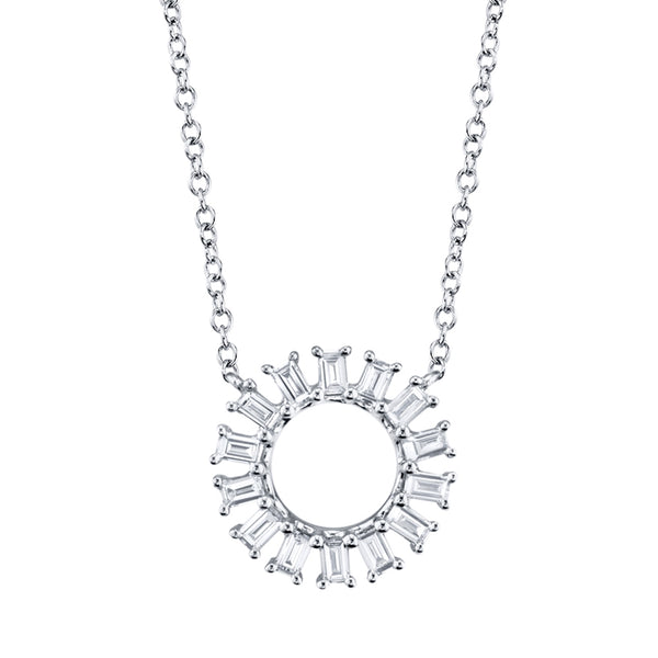 Diamond Circle Baguette Necklace