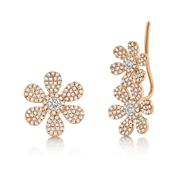 diamond flower earrings rose gold