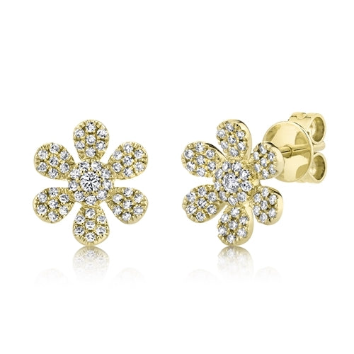 Diamond Flower Stud Earrings yellow gold