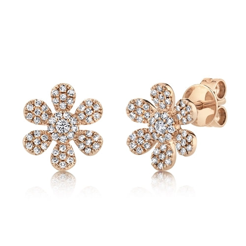 Diamond Flower Stud Earrings rose gold