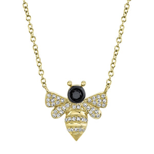 Bee black & white Diamond Necklace
