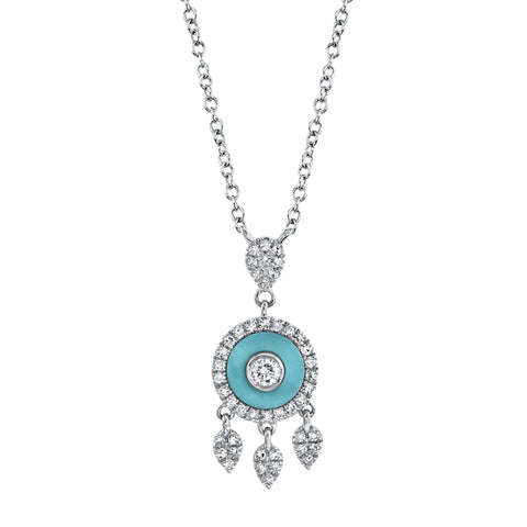 Circle Diamond & Turquoise Necklace