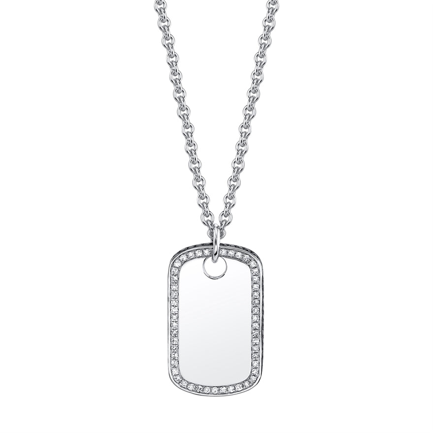 Dog Tag Diamond Necklace