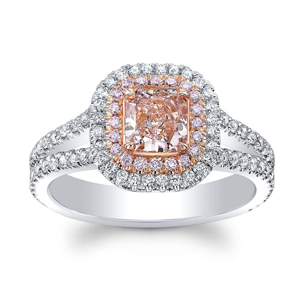0.74 Fancy Pink Radiant Cut Diamond Ring - Mizrahi Diamonds