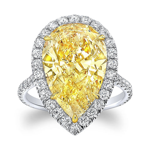 6 Carat Pear-Shape Fancy Yellow Diamond Ring - Mizrahi Diamonds