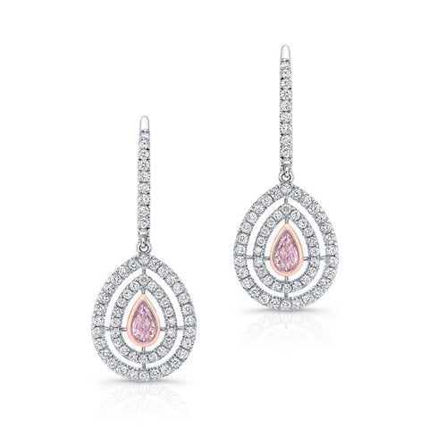 Natural Pink Diamond Earrings - Mizrahi Diamonds