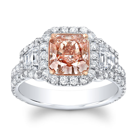 1.66 Radiant Fancy Pink Diamond Ring - Mizrahi Diamonds