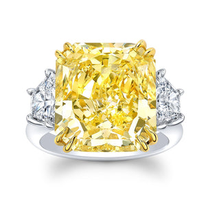 11.00 Ct. Fancy Yellow Radiant Cut Diamond Ring - Mizrahi Diamonds