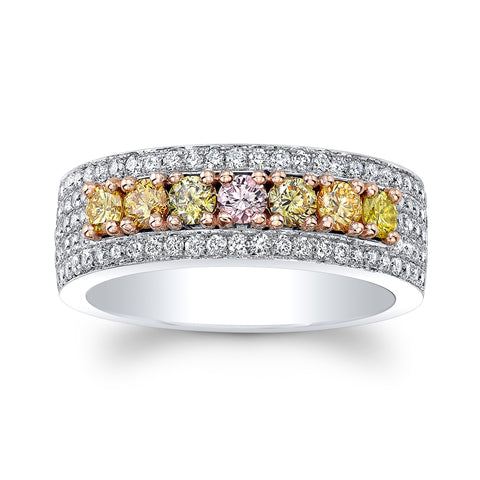 Multi Color White Gold Diamond Band - Mizrahi Diamonds
