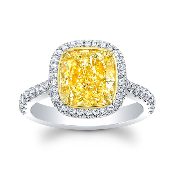 3.01 ct. Fancy Yellow cushion cut Diamond Ring - Mizrahi Diamonds