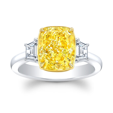 4.02 ct. Fancy Yellow Diamond Ring - Mizrahi Diamonds