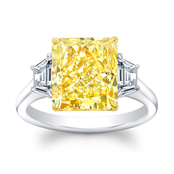 5.04 ct. Fancy Yellow Radiant Cut Diamond Ring - Mizrahi Diamonds