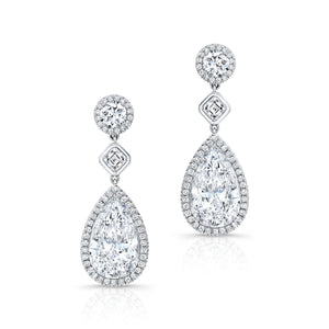 Pear Shaped Diamond Earrings GIA