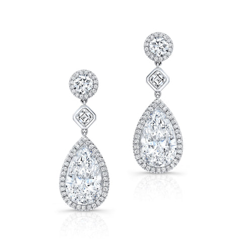 Pear Shaped Diamond Earrings GIA - Mizrahi Diamonds
