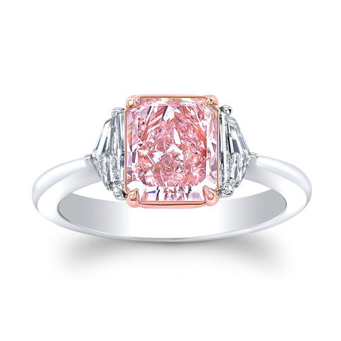 1.65 Carat Fancy Pink Radiant Cut Diamond Ring - Mizrahi Diamonds