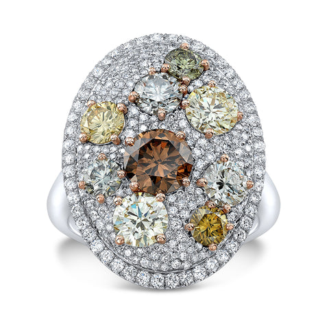 Oval Shape Multicolor Diamond Ring - Mizrahi Diamonds
