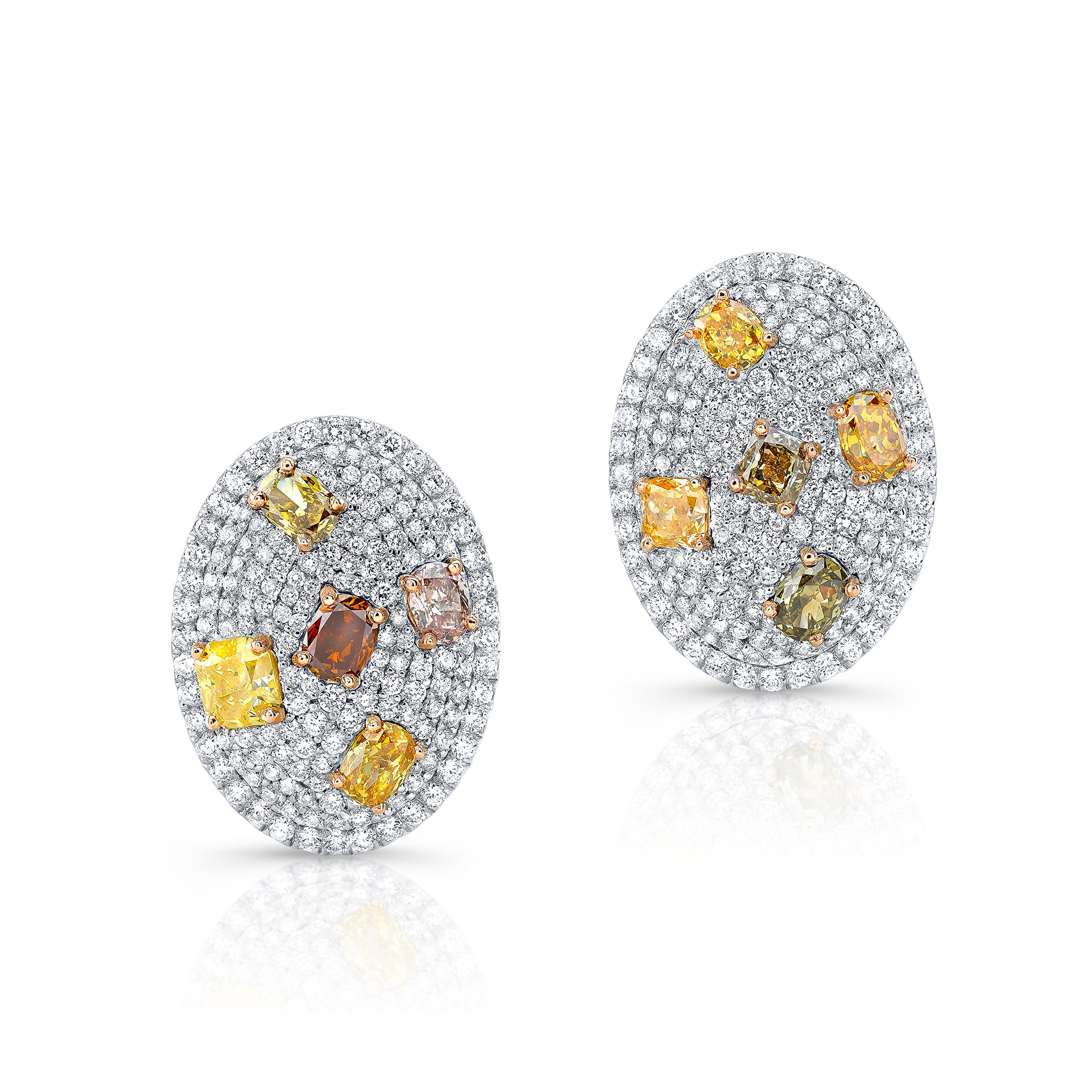 Bespoke Diamond Earrings, Natural Color Diamonds