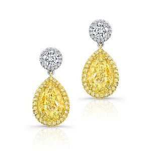 Pear-Shape Fancy Light Yellow Earrings - Mizrahi Diamonds