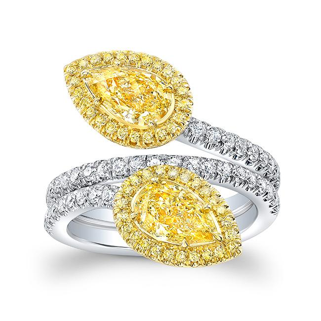 Yellow Diamond  East West Pear Shape Ring - Mizrahi Diamonds