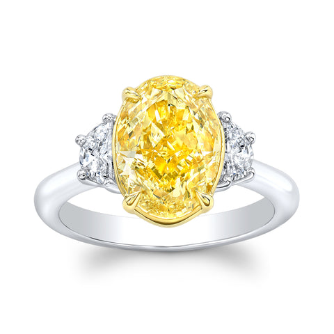 4.01 Fancy Yellow Oval Diamond Ring - Mizrahi Diamonds
