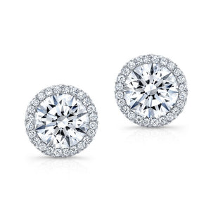 Diamond Stud Earrings with Halo - Mizrahi Diamonds