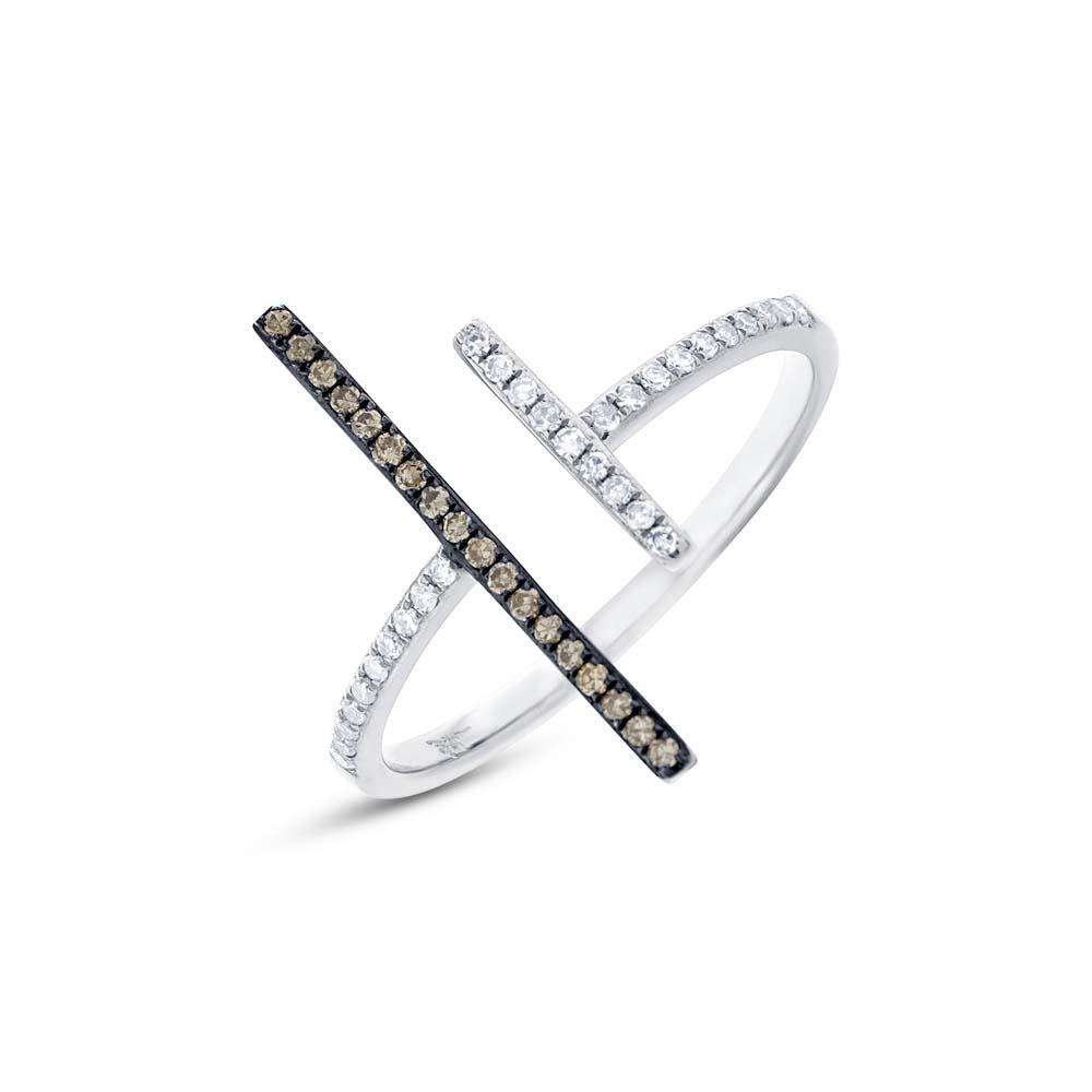 White & Champagne Aligned Band Ring - Mizrahi Diamonds