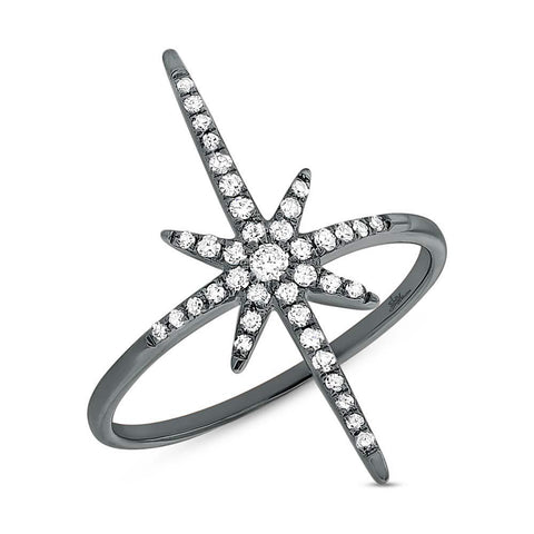 North Star Ring in Black Rhodium - Mizrahi Diamonds