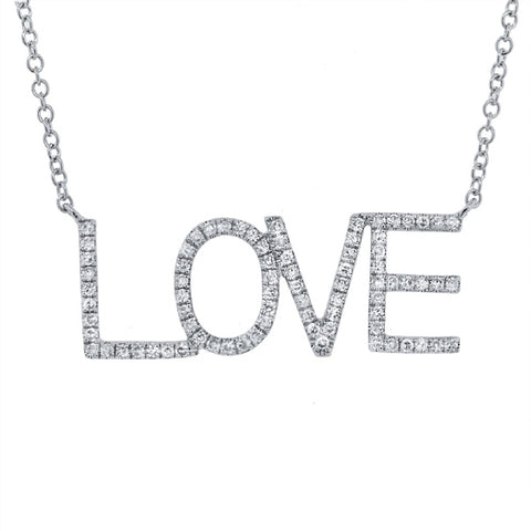 Gold Diamond LOVE necklace