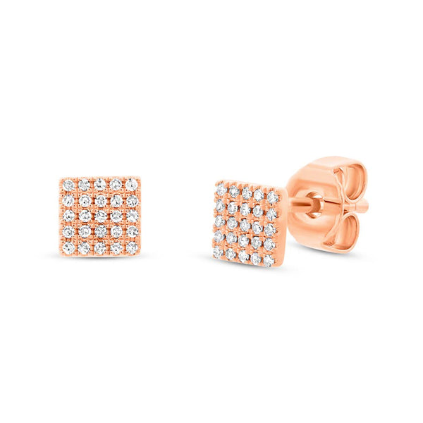 Diamond Pave Square Stud Earring - Mizrahi Diamonds