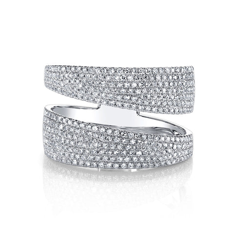 Double band diamond ring - Wide - Mizrahi Diamonds