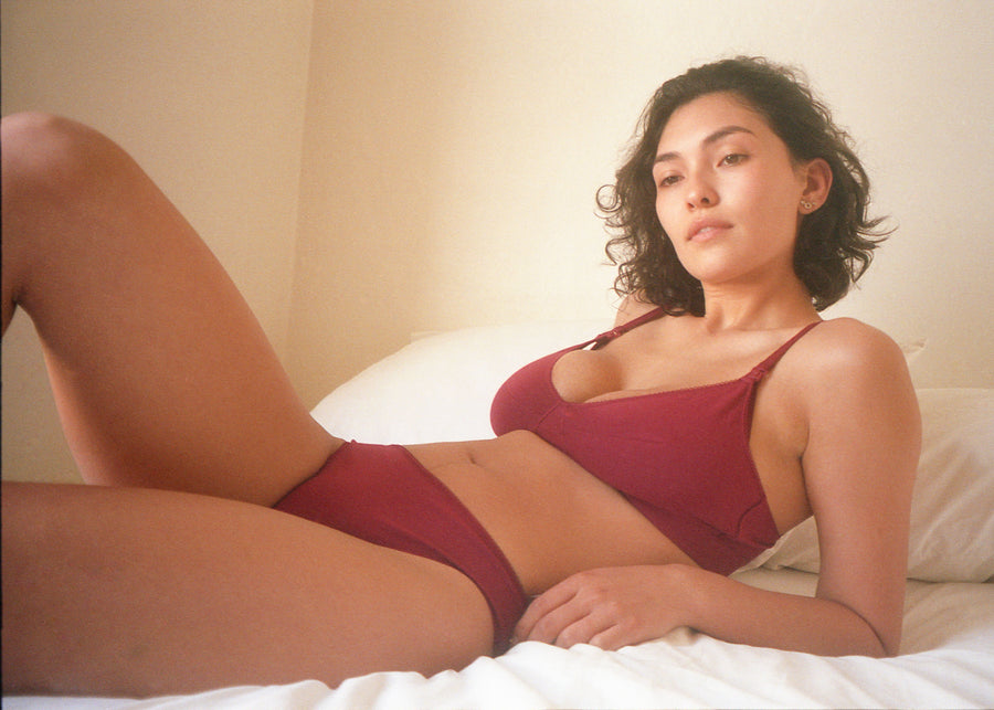 maternity scalloped soft bra - burgundy