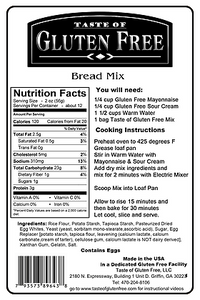 Taste Gluten Free Bread Mix Nutrition Facts